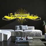 Wandtattoo Skyline Dortmund | Mit Stadion Fußball Fan Geschenk Wand Aufkleber Bild Schwarz 070 120 x 48 cm
