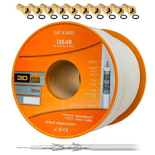 135dB 50m HB DIGITAL Koaxial SAT Kabel 5-fach geschirmt für Ultra HD 4K DVB-S / S2 DVB-C und DVB-T BK Anlagen + 10 vergoldete F-Stecker SET Gratis dazu