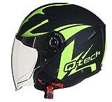 Helm Jethelm Motorrad Rollerhelm Offenes Gesicht Sonnen-Visier - ECE Genehmigt Gelb - M (57-58cm)