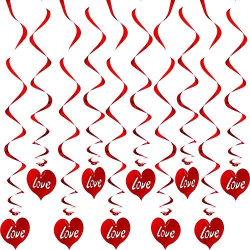 Blulu Hängend Herz Swirl Valentinstag Dekorationen Valentinstag Hängenden Swirl für Haus Party Schlenker Decke Valentine Party Favor Vorräte (Rot, 48 Stücke)