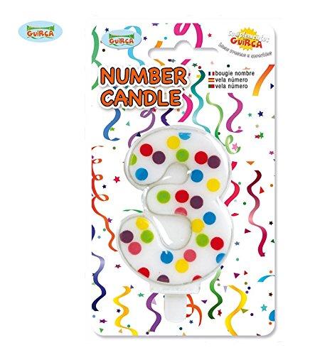 Konfetti Kerze Nummer 3 - Deko Geburtstag Kuchen ca. 6,5 (Kuchen Geburtstag Kostüme)