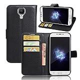 WolinTek Doogee X9 Pro Kunstleder Tasche im Bookstyle, Ledertasche Handyhülle Etui Flip Wallet Case Klapphülle mit Kartenfach und Ständer Lederhülle Hülle für Doogee X9 Pro, schwarz