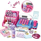 HERSITY 31 Stück Supermarktkasse Spielzeug Schminkset Elektronische Kasse mit Scanner Registrierkasse Spielkasse mit Lichtern und Sound Rollenspiel für Kinder