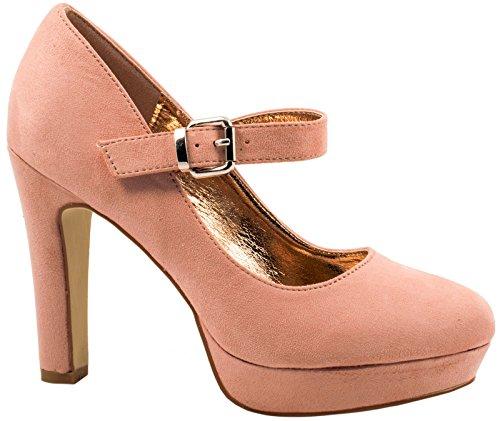 Elara Damen High Heels | Bequeme Spangen Pumps | Riemchen Stilettos | Chunkyrayan K22317-Pink-39