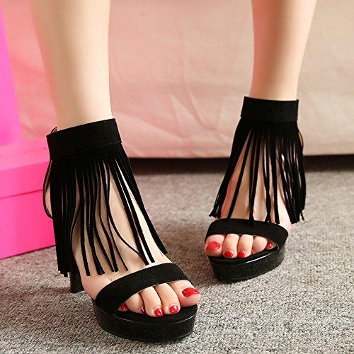 RizaBina Femmes Mode Talons Hauts Plateforme Bout Ouvert Ankle Wrap Sandales De La Franse Noir