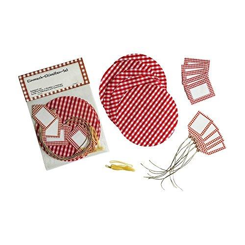 Preisvergleich Produktbild Einmach-Etiketten-Set für Erdbeermarmelade mit Glasdeckchen und Anhängern, Haushaltsetiketten, Rot