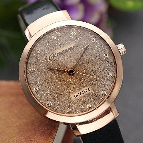 JSDDE Uhren,Elegante Damen Armbanduhr Braunglas Glitzer Dial XS Slim PU Leder-Band Ladies Dress Analog Quarzuhr,Schwarz - 4