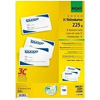 Sigel LP798  Lot de 100 Cartes de visite à coins arrondis, 8,5 x 5,5 cm, 225 g