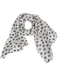 Accessoire pour Femmes Calonice Amorino Écharpe blanche longue et légère avec motifs de têtes de chats Taille unique 160x0.1x52 cm (LxHxl) 28100