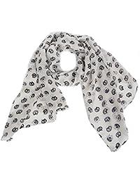 Calonice Amorino Frauen Accessoire Weiß dünnes Halstuch, dunkles Katzengesicht Muster, eine Größe 160x0.1x52 cm (BxHxT) 28100