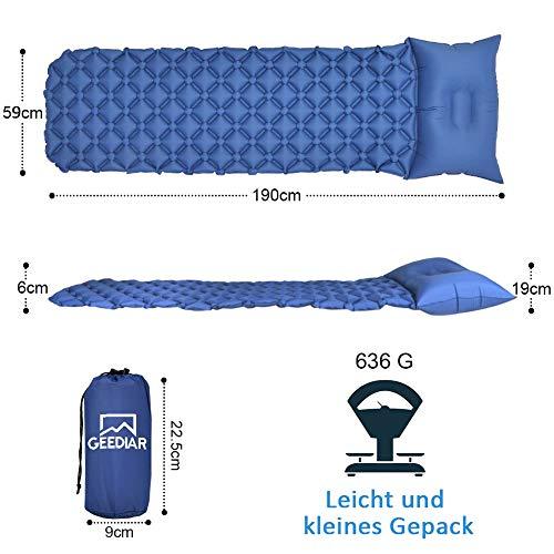 GEEDIAR Isomatte Camping aufblasbare Luftmatte mit Kissen 190x59x6 cm Farbe dunkel blau, ultraleicht tragbare Luftmatratze für Camping Ausflug Deppel Zelt inkl. kleinem Packsack - 4
