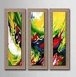 AYANGZ Abstract Artwork - Kunst 100% handgemaltes Ölgemälde auf Leinen Gewickelt Wandkunst fertig Zum Aufhängen für Wanddekoration Home Decor, 3pc, 11 * 35 Zoll,11 * 35inch*3