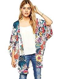 RETUROM Las mujeres nuevo estilo informal de la impresión floral del kimono suelta Cardigan gasa remata la blusa