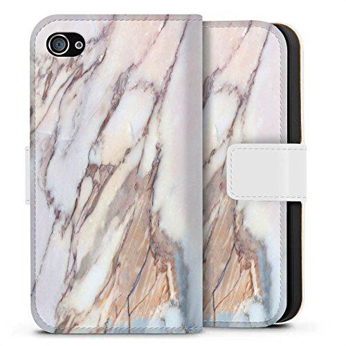 Apple iPhone X Silikon Hülle Case Schutzhülle Marmor Marble Look Muster Sideflip Tasche weiß