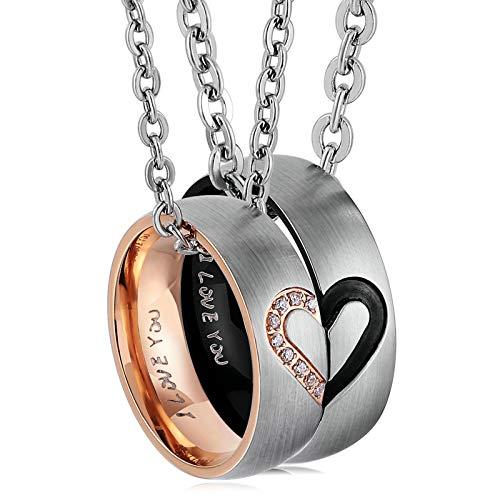 LOUMVE Liebe Herz Edelstahlringe Eheringe I Love You Bicolor Zirkonia Paar Ringe für Sie und Ihn Silber - Mens Palladium Eheringe