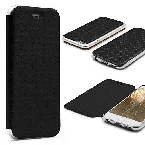Urcover® Apple iPhone 6 / 6s Sunflower Wallet Handy Schutz-Hülle in Weiß mit [ Easy-Stand & Kartenfach ] Smartphone Zubehör Tasche Schale mit Magnet Case Cover Etui Schwarz