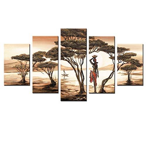 HUDEHUA 5 Panels Afrikanische Frau Leinwand Gemälde Für Wohnzimmer Afrikanische Sonnenuntergang Bäume Landschaft Modulare Bilder Seascape Wall Poster