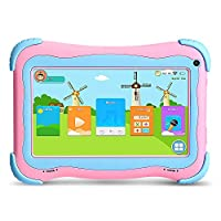 YUNTAB 7 inch Kids Tablet PC Q91 load Children Like PLaying & Learnign Software iWawa Android 5.1 A33 1.5GHZ quad core HD 1024*600 Display Wifi dual Camera 3D Game with tablet case