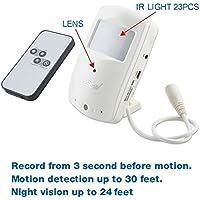 Conbrov(tm) hd028 - Telecamera di sicurezza a raggi infrarossi PIR Super visione notturna con sensore di movimento e registratore Video Dvr per uso in Nanny Cam
