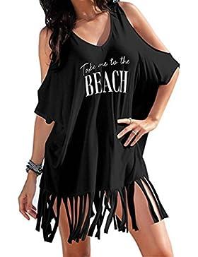 Faldas, Challeng Tassel Letters Print-- Bikini de baño // Vestido de playa (s, negro)