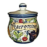 CERAMICHE D'ARTE PARRINI- Ceramica italiana artistica , barattolo peperoncino decorazione frutta , dipinto a mano , made in ITALY Toscana
