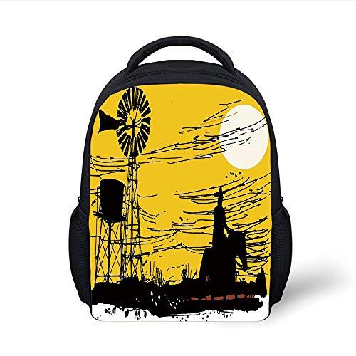 Outback Cross Body (Kids School Backpack Windmill Decor,Australian Outback Inspired Artwork Cowboy on Horse at Sunset,Earth Yellow Black White Plain Bookbag Travel Daypack)