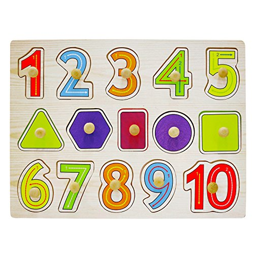 AsianHobbyCrafts Wooden Educational Board Puzzle Toy for Kids: Numbers & Sahpes