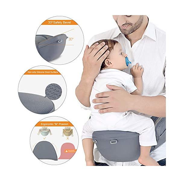 Azeekoom Baby Carrier, Ergonomic Hip Seat, Baby Carrier Sling with Fixing Strap, Bibs, Shoulder Strap, Head Hood for Newborn to Toddler from 0-36 Month (Gray) Azeekoom 【More Ergonomic】 - Baby carrier for newborn has an enlarged arc stool to better support the baby's thighs, the M design that allows the knees to be higher than the buttocks when your baby sits, is more ergonomic.The silicone granules on the stool provide a high-quality anti-slip effect that prevents the baby from slipping off the stool. 【Various Methods of Carrying】- There are 5 combinations of ergonomic baby carrier and a variety of ways to wear them.Hip Seat/Fixing Strap + Hip Seat/Shoulder Strap + Hip Seat/Strap + Hip Seat/Strap, 5 combinations to meet your needs.Fixing Strap frees your hands and prevent your baby from falling over the stool.The shoulder straps reduce the burden on your waist and make you more comfortable. 【More Comfortable】 - The baby carrier is made of high quality cotton fabric with 3D breathable mesh for comfort and coolness. The detachable sunshade provides warmth in winter and fresh in summer. The detachable cotton slobber allows you to Easy to change. At the same time, the zip closure is designed for easy removal and cleaning. 3