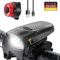 LIFEBEE LED Fahrradlicht, StVZO Zugelassen USB Wiederaufladbare Fahrradbeleuchtung Fahrradlicht Vorne Rücklicht Set,...