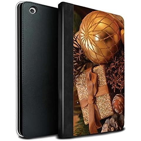 STUFF4 PU Pelle Custodia/Cover/Caso Libro per Apple iPad Mini 1/2/3 tablet / Regalo Oro / Foto di Natale disegno