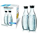 SodaStream 1047200490 Twinpack Glass Carafe 2 x 0.6 l Matching Water Carbonators Penguin and Crystal by SodaStream