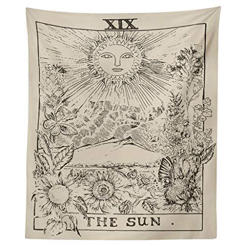 Xmiral Tapisserie Sternenhimmel Sonne Mond Yogamatte Picknickdecke Wandteppich Wanddeko(A,130X150cm)