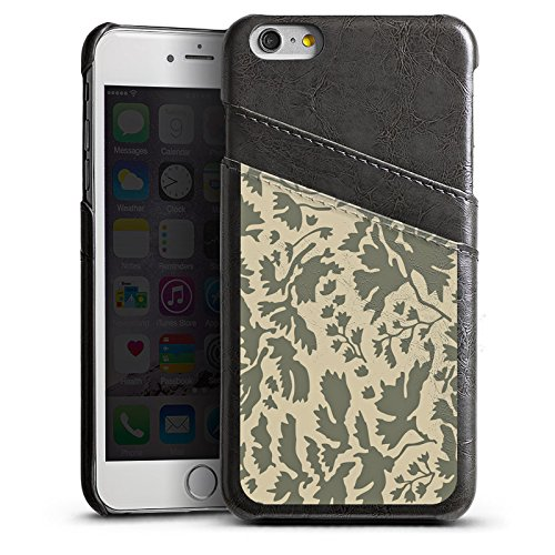 Apple iPhone 5 Housse Étui Silicone Coque Protection Motif floral Feuillage Marron Étui en cuir gris
