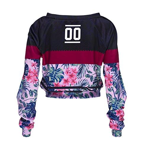 Who Cares Funny Sweatshirts Company© Imprimé 3D CROPTOP Sweat-shirt Impression/Motif/Conception Taille Unique Unisexe Printemps Été 2017 FUCHSIA FLOWER