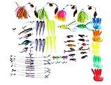 hengjia Lure Kit 75pcs Frosch Kunstköder/Hard Lures/Spinnerbaits/Löffel lockt/weiche Köder/Popper/Kurbel Tackle Box und mehr Gear Kunstköder Set