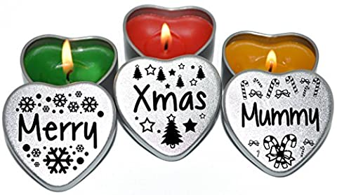 Merry Christmas Mummy Xmas Gift. Set of 3 Silver Mini Heart Tin Tealight Style Scented Candles. Perfect Christmas Gift Secret Santa and Christmas Place Settings. Each tin is
