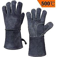 OZERO 500° C Hitzebeständige Grillhandschuhe, schwer entflammbar Leder BBQ Handschuh - Grau (14-Zoll)