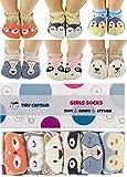 Baby Anti-Rutsch-Socken für Mädchen, ABS Socken Cartoon Tiere, tolles Geschenk für Mädchen 1-3 Jahre, 6 Paare mit Anti-Rutsch-Noppen Kinder 8-36 Monate Von Tiny Captain