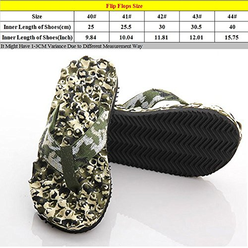 Linyuan Casual Style Men's Summer Beach Strand Flip Flops Shoes Massage Slippers Camo Green