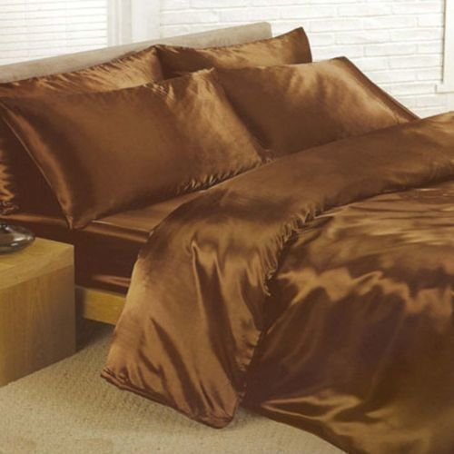 6pc satin silk luxury feel complete duvet cover bed sheet set in 6 colours double chocolate