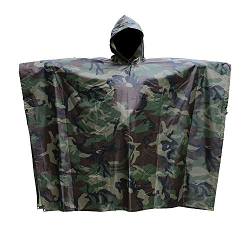 Mmondschein Camouflage Waterproof Rain Poncho Jacket, Unisex Adult Outdoor Military Raincoat for Fishing Hunting Hiking Camping Shelter Use