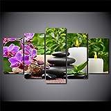 RMRM HD Impreso 5 Unidades Arte de la Lona Orquídea Rosa SPA Zen Pintura d Cuadro de Pared para...