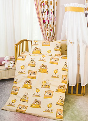 Sei Design® Kinderbettwäsche 2 Tlg. Babybettwäsche Bettset Baby Bär: Bettdeckenbezug 100x135 + Kopfkissenbezug 40x60 mit integriertem Reißverschluss (2 Tlg., Bär Paar beige)