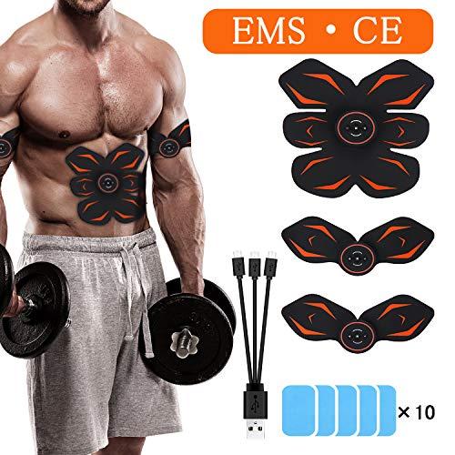 Electrostimulateur Musculaire -Morease Ceinture Abdominale Electrostimulation USB Charge, Entraînement Abdominal/Cuisse/Bras...