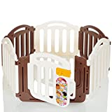 LCP Kids Parc Bébé Grand Porte Securite 6 Cotes Marron Blanc