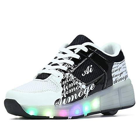 SGoodshoes Schuhe Mit Rollen Led Leuchtende Sportschuhe Lichter Rädern Turnschuhe 7 Farbe Farbwechsel Sneaker Kinder Junge Mädchen