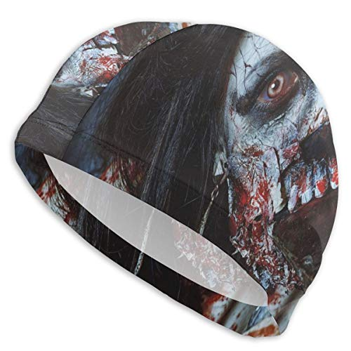 Swimming Hat Diving Caps,Scary Dead Woman with A Bloody Axe Evil Fantasy Gothic Mystery Halloween Picture,for Men Women Youths ()