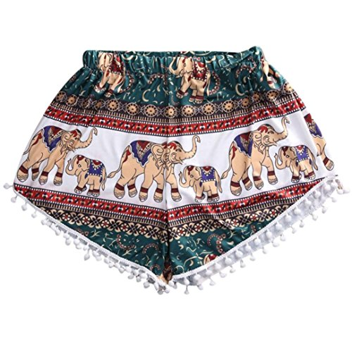 TWIFER Damen Mode Hot Shorts Sommer Beiläufige Hohe Taille Elefant Print Strand Kurze Hose (M, Mehrfarbig)