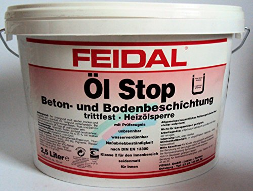 Feidal Ölstop / Heizölsperre / Heizölbeständige Schutzfarbe / Ölwannenbeschichtung / Bodenbeschichtung / kieselgrau RAL 7032 / matt / 2,5 Liter