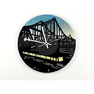 Uhr Wanduhr Berliner S-Bahnbrücke Vinyluhr Schallplattenuhr